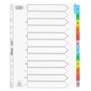 Set of large numbered dividers, Bristol board with Mylar tabs, 12 divisions