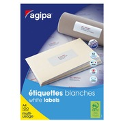 Box of 6500 address labels Agipa 118990 white 38 x 21.2 mm for inkjet and laser