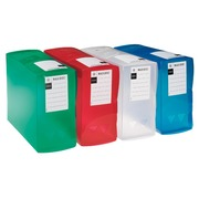 Plastic filing box Viquel back 12 cm - assorted translucent colours