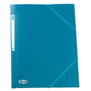 Plastic folder with 3 flaps and elastic band Memphis Elba 24 x 32 cm back 1,5 cm turquoise