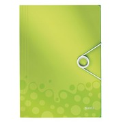 Folder with elastic band 3 flaps Wow Leitz 23.5 x 32 cm back 2,5 cm green