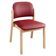 Mely Melo chair, imitation leather, maroon, beech legs