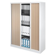 Low tambour cabinet monoblock Generic H 160 x W 120 cm white - light oak
