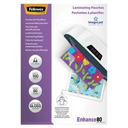 Hoesjes Fellowes voor warm plastificeren 2 x 80 micron