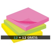 Pack 12 herkleefbare notes gekleurd Bruneau 75 x 75 mm + 12 gratis