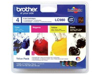 Pack van 4 cartridges Brother LC980 zwart + kleuren
