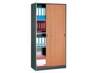 Cupboard sliding doors 180x90 cm, body anthracite - doors cherry tree