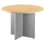 Round table 100cm beech with crossed undercarriage